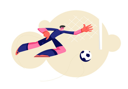 Goalkeeper Bouncing to Catch Ball at Football Competition Game. Soccer Player Defend Attacked Gate, Male Character Jump to Get Ball, Man Engage Sport, Football Player. Cartoon Flat Vector Illustration