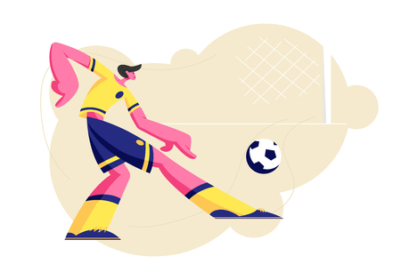 Young Football Player Character in Team Uniform Kicking Ball, Sportsman Training before Competition, Soccer League Tournament. Sport Life, Sportsman in Motion at Game. Cartoon Flat Vector Illustration
