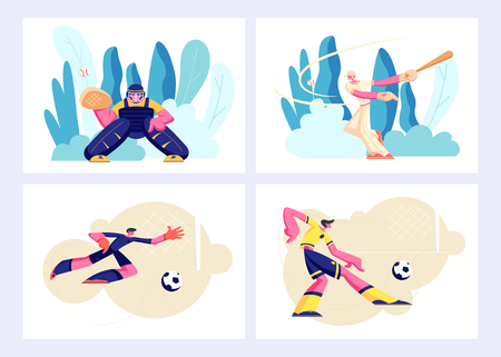 Various Kind of Sport Set, Games and Players in Action. Baseball Catcher, Batter, Football Soccer Attack Man, Goalkeeper Sport Characters in Team Uniform, Competition. Cartoon Flat Vector Illustration 版權商用圖片 - 123179942