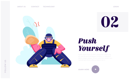 Baseball Player in Action Waiting Ball from Pitcher. Professional Sportsman Male Catcher Trying to Catch Ball During Game, Website Landing Page, Web Page. Cartoon Flat Vector Illustration, Banner