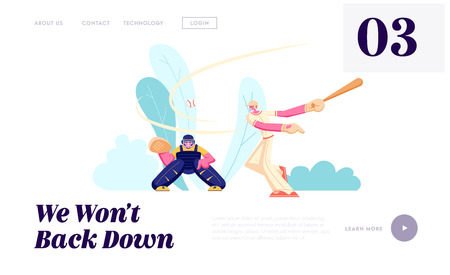 Young Men Characters Playing Baseball at Championship Competition. Batter Hitting Ball, Catcher Prepare to Catch, Sport Players Website Landing Page, Web Page. Cartoon Flat Vector Illustration, Banner