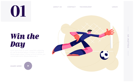 Young Football Goalkeeper in Motion of Side Jump Trying to Catch Ball. Male Soccer Player Bouncing to Get Ball on Tournament. Website Landing Page, Web Page. Cartoon Flat Vector Illustration, Banner