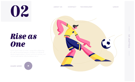 Young Man Football Soccer Player in Team Uniform in Motion Kick Ball. Attack Character in Tournament Competition Football Game Website Landing Page, Web Page. Cartoon Flat Vector Illustration, Banner Imagens - 123179949
