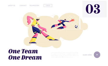 Male Characters in Sports Uniform Practicing Football Game, Soccer Player Kick Ball, Goalkeeper Catch Bouncing, Football Sport Website Landing Page, Web Page. Cartoon Flat Vector Illustration, Banner