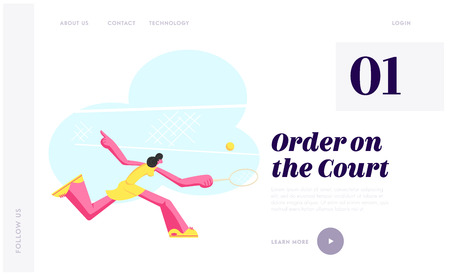 Young Woman Practicing Tennis Game. Sportswoman Character in Motion Trying to Hit Ball with Racket on Court, Girl Tennis Player Website Landing Page, Web Page. Cartoon Flat Vector Illustration, Banner