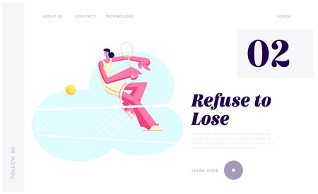 Female Tennis Player in Uniform Sports Wear Trying to Repulse Ball with Racket. Sportswoman at Competition, Sport Training Website Landing Page, Web Page. Cartoon Flat Vector Illustration, Banner  イラスト・ベクター素材