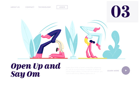 Couple of Healthy People Doing Yoga Asana Standing on Hands, Sport Life Activity, Man and Woman in Scorpion Pose, Yoga Class. Website Landing Page, Web Page. Cartoon Flat Vector Illustration, Banner
