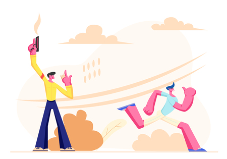 Running Competition Male Characters on Stadium. Man Shooting Blank Gun and Watching on Stopwatch, Sportsman in Uniform Sports Wear Starting to Run. Sporty Man Jogging. Cartoon Flat Vector Illustration 일러스트