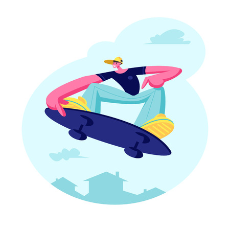 Young Guy in Modern Fashioned Clothing and Cap Jumping on Skateboard. Skateboarder Male Character, Skateboarding Boy on Board in Skatepark, People Outdoors Activity. Cartoon Flat Vector Illustration