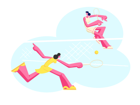 Young Girls in Sportswear Play Big Tennis on Court. Sportswomen Holding Rackets Hitting Ball over Basket, Women Outdoor Sport Activity, Happy People Healthy Lifestyle, Cartoon Flat Vector Illustration