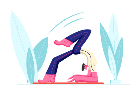 Yoga Workshop or Class, Young Healthy Male Character Trying Keep Balance Doing Yoga Asana or Pilates Exercise Openair, Scorpion Pose, Vrischikasana. Fitness Sport Life Cartoon Flat Vector Illustration