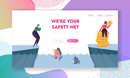 Couple of Characters Stand on Different Coasts of Pond with Piranha Waiting Victim in Water. Money Safety Protection Concept, Business Risks, Loan Website Landing Page Cartoon Flat Vector Illustration