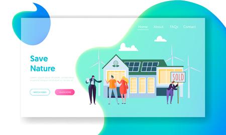Des gens heureux qui achètent une nouvelle maison. Agent immobilier communiquer avec les clients. Eco House Concept Landing Page, écologie énergie verte. Site Web ou page Web de l'énergie solaire, éolienne. Illustration vectorielle plane de dessin animé