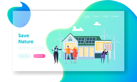 Happy People Buying New Home. Real Estate Agent Communicate with Clients. Eco House Concept Landing Page, Ecology Green Energy. Solar, Wind Power Web Site or Web Page. Cartoon Flat Vector Illustration