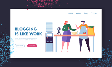Couple of Man and Woman Food Video Bloggers Recording Post for Followers. Blogging as Profession Concept. Male and Female Characters Prepare New Culinary Recipe Landing Page. Flat Vector Illustration Ilustrace