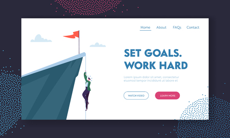 Man Climbing on Mountain with Red Flag on Top. Business Character Trying to get Success. Goal Achievement, Leadership, Motivation Concept, Hardworking Landing Page Cartoon Flat Vector Illustration 일러스트