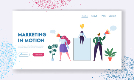 Business Advertising Concept. Woman Sitting on Blank Banner or Poster, Characters Stand with Megaphone. Marketing Presentation, Announcement of Promotion Landing Page. Cartoon Flat Vector Illustration Stock Illustratie