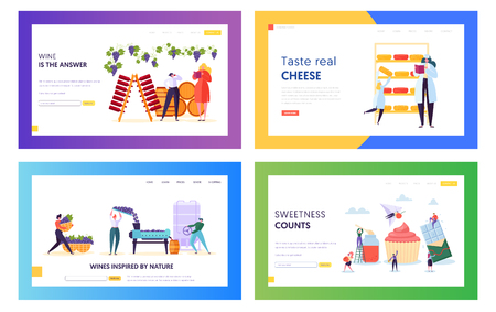 Set of Delicious Food and Drink Producing Landing Page Templates. People Characters in Confection, Winemaking and Cheesmaking Manufacturing, High Quality Production. Cartoon Flat Vector Illustration