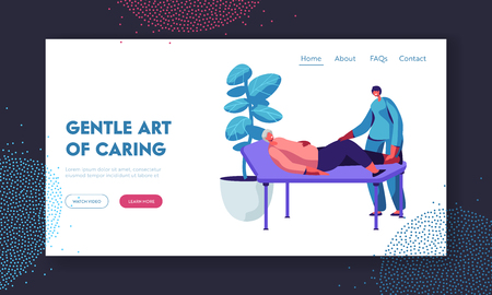 Healthcare of Disable Senior People, Physical Therapy Service in Nursing Home. Nurse or Doctor Checkup Old Woman Lying on Couch Website Landing Page, Web Page. Cartoon Flat Vector Illustration, Banner