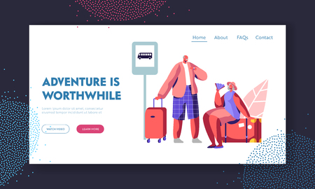 Senior Tourist Characters Adventure in Trip. Aged Man Hold Suitcase, Elderly Woman Sit on Luggage with Fan on Bus Station, Tour Website Landing Page, Web Page. Cartoon Flat Vector Illustration, Banner