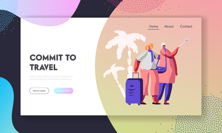 Cheerful Elderly Couple with Luggage Making Selfie in Exotic Voyage Tour, Aged Traveling People Tourists Having Fun Together. Website Landing Page, Web Page. Cartoon Flat Vector Illustration, Banner