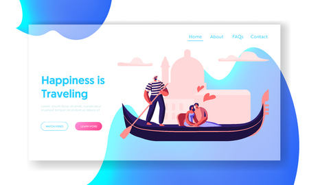 Happy Loving Couple Hugging in Gondola with Gondolier Floating along Canal. Love in Venice. Man and Woman Traveling to Italy. Website Landing Page, Web Page. Cartoon Flat Vector Illustration, Banner