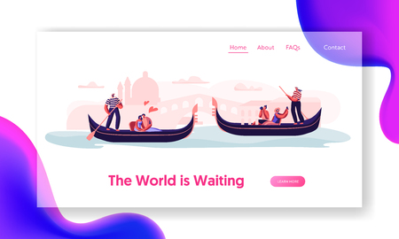 Romantic Tour in Italy. Love in Venice. Happy Loving Couples Floating on Gondolas with Gondoliers Hugging and Making Photo. Website Landing Page, Web Page. Cartoon Flat Vector Illustration, Banner