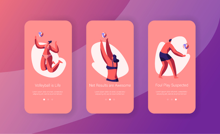 Men and Women Beach Volleyball Players Wearing Swim Suit at Dynamic Sport Action, Mobile App Page Onboard Screen Set, Outdoor Activity Concept for Website or Web Page. Cartoon Flat Vector Illustration