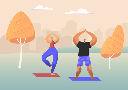 Couple of Healthy People Doing Yoga Asana or Aerobics Exercise Standing with Hands Up in Urban City Park, Sport Life Activity, Man and Woman Healthy Lifestyle. Cartoon Flat Vector Illustration