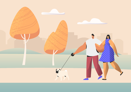 Family Couple of Young People Characters Walking with Pet in Public City Park at Summer Time. Man and Woman Walk with Dog Outdoors, Spouse Relaxing Promenade in Park. Cartoon Flat Vector Illustration