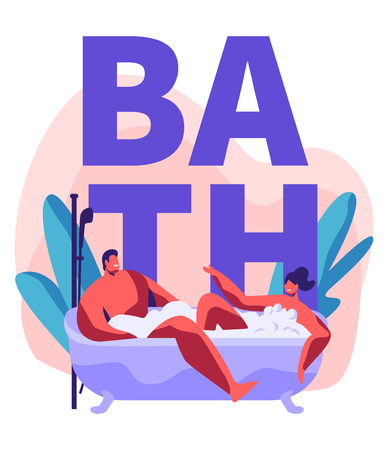 Young Man and Woman Taking Bubbled Bath Full of Foam. Romantic Date in Wellness Hotel Bathroom, Newlywed Honeymoon Relaxed Vacation, Couple in Relationship. Cartoon Flat Vector Illustration, Poster  イラスト・ベクター素材