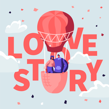 Love Story Poster with Loving Happy Couple of Young Man and Woman Stand in Basket of Air Balloon Flying in Cloudy Sky. Romantic Honeymoon Trip, Valentine Day Concept. Cartoon Flat Vector Illustration Illustration