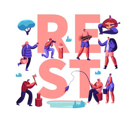 Leute, die kreatives Poster ausruhen. Männliche und weibliche Charaktere Hobby in der Freizeit, Männer und Frauen beim Entspannen, Angeln, Fotografieren, Pilze sammeln, Camping. Flache Vektorillustration der Karikatur