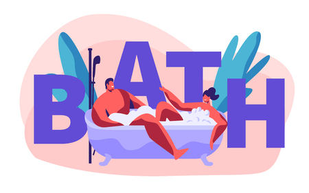 Young People Characters Relaxing and Bathing in Bath Tube Full of Soap Foam. Couple of Man and Woman Bath Have Romantic Dating Concept, Poster, Banner, Flyer, Brochure Cartoon Flat Vector Illustration