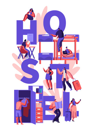 Students or Travelers Characters Hostel Accommodation Concept. Tourists People Characters Move into Cheap Motel to Stay at Night, Poster, Banner, Flyer, Brochure. Cartoon Flat Vector Illustration