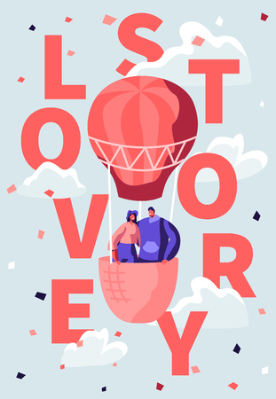 Loving Happy Couple Fly in Air Balloon in Cloudy Sky. Romantic Honeymoon Voyage, Valentine Day. Love Story Poster, Banner, Flyer, Brochure, Character, People, Concept. Cartoon Flat Vector Illustration