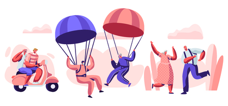 Elderly People Active Lifestyle. Happy Aged Pensioner Characters Doing Extreme Sport, Skydiving with Parachute, Riding Motobike, Dancing. Old Men and Women Relations. Cartoon Flat Vector Illustration Banque d'images - 123180015
