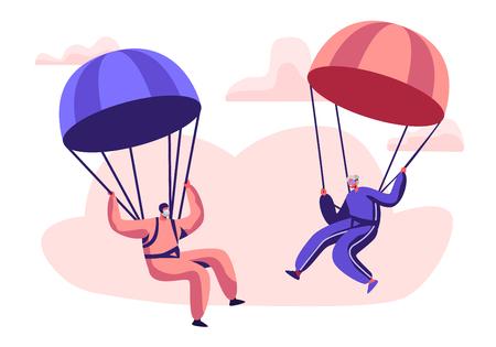 Postacie szczęśliwego emeryta uprawiającego sport ekstremalny, skoki spadochronowe ze spadochronem, starszy mężczyzna i kobieta skoczkowie spadochronowi w mundurze sportowym unoszący się na niebie ze zjeżdżalniami. Ilustracja kreskówka płaski wektor