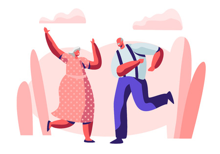 Senior Married Couple Sparetime with Dancing, Elderly People Active Lifestyle, Old Man and Woman in Loving or Friendly Relations Spend Time Together, Extreme Leisure. Cartoon Flat Vector Illustration Banque d'images - 123180017