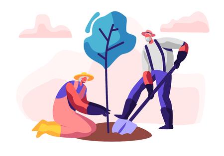 Pareja de pensionistas masculinos y femeninos plantando árboles. Hombre envejecido cavando suelo con pala, mujer mantenga planta. Ancianos de jardinería, jardineros senior trabajando al aire libre. Ilustración de Vector plano de dibujos animados
