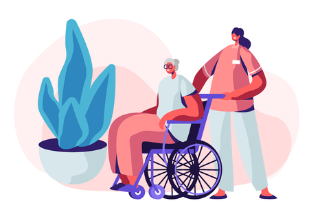 Help Old Disabled People in Nursing Home. Young Nurse Social Worker Care of Sick Senior Driving her on Wheelchair, Skilled Nurse Residential Healthcare, Medical Aid. Cartoon Flat Vector Illustration