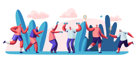 Elderly People Open Air Workout. Senior Men and Women Characters Running, Doing Exercises, Playing Badminton Outdoors Together, Have Fun, Fitness Healthy Lifestyle. Cartoon Flat Vector Illustration Illusztráció