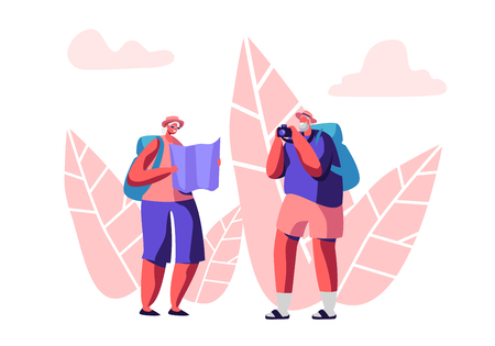 Senior Tourist Characters Watching Map and Making Picture in Trip,Traveling People with Photo Camera and Luggage Search Right Way in Foreign Country, Aged Couple Trip. Cartoon Flat Vector Illustration