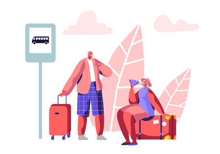 Mature Tourist Characters Stand on Bus Station Waiting Transport. Aged Man Hold Suitcase, Elderly Woman Sit on Luggage with Fan. Pensioners Traveling at Summer Time. Cartoon Flat Vector Illustration