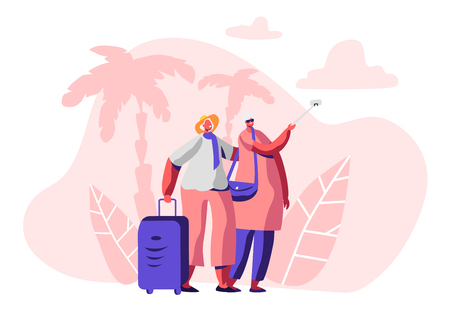 Aged Married Couple Making Selfie in Exotic Country Traveling Trip. Cheerful Elderly Man and Woman with Luggage in Voyage Tour, Mature Tourists Having Fun Together. Cartoon Flat Vector Illustration