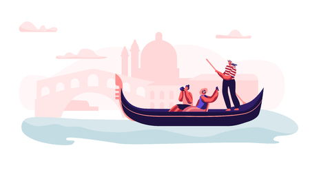 Cheerful Excited Couple in Gondola with Gondolier Floating at Canal Making Photo of Sightseeing at Romantic Journey or Voyage to Italy. Happy People Love in Venice. Cartoon Flat Vector Illustration