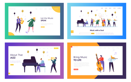 Group of Young People Performing Concert on Stage with Musical Instruments. Artists Playing and Singing to Microphone. Landing Page Templates Set, Show in Music Hall. Cartoon Flat Vector Illustration