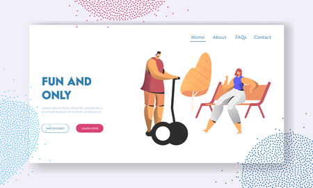Citizen Characters Having Leisure. Young People Relaxing in Park at Summer Day, Man Riding Hoverboard, Woman Sitting on Bench. Website Landing Page, Web Page. Cartoon Flat Vector Illustration, Banner