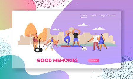 Various People Having Good Day in Public Park Relaxing Openair, Walking with Pet, Sport Exercising, Riding Hoverboard, Relax. Website Landing Page, Web Page. Cartoon Flat Vector Illustration, Banner