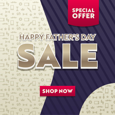 Happy Fathers Day Sale Promotional Poster or Banner with Geometric Shapes, Abstract Lines and Icons Pattern. Modern Cover Template Design, Creative Business Poster. Vector Illustration, Banner Illustration